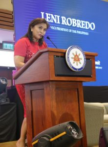 Vice President Robredo delivers her speech at the 11th National Education Summit